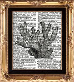 CORAL  Vintage Dictionary Print Black and White by LoveThePicture