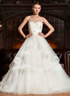 Ball-Gown Scoop Neck Cathedral Train Tulle Lace Wedding Dress (002067243) - JJsHouse