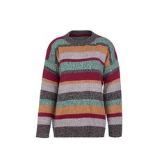Loose Knitted Sweater with Stripe Stitching – japanese knitting stitches Pullover Sweaters, Men Sweater, Knitting Stitches, Round Collar, Stitching, Stripes, Coat, Long Sleeve, Fabric