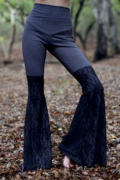"""There are darknesses in life and there are lights, and you are one of the lights, the light of all lights."" ― Bram Stoker  sleek and slightly compressive, the ultimate yoga bell bottoms. moisture controlling 90% nylon 10% spandex. features on trend and slimming high waist thats elastic free, super wide 35 bells, cover stitch seam at crotch for extra strength and seamless feeling, and a diamond gusset for ultimate comfort and mobility. heather gray with black stretch lace.  hand sewn by…"