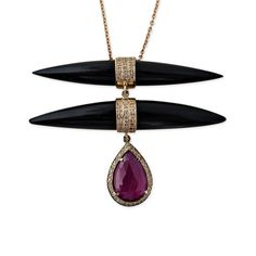 DOUBLE WOOD AND RUBY TEARDROP NECKLACE