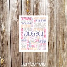 Volleyball | Household Art | Wall Art | Subway Art | 5x7 | 8x10 | 11x14 by gemberlelie on Etsy