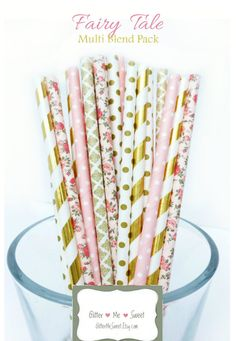 Floral Paper Straws Pink and Gold Baby Shower by GlitterMeSweet