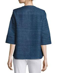 Half-Sleeve Silk Textured Zip-Front Jacket