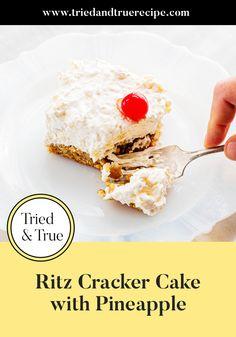 Cream Cheese Desserts, Whipped Cream Cheese, Soften Cream Cheese, Ritz Cracker Pie Recipe, Ritz Cracker Dessert, Pineapple Desserts, Pineapple Cake, Easy Desserts, Dessert Recipes