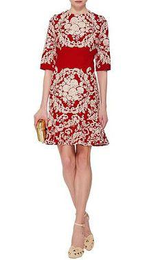 Dolce & Gabbana - Embroidered Cady Flounce Hem Dress
