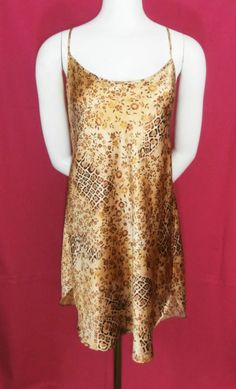 Secret Treasures Liquid Gold Floral Animal Cheetah Print Babydoll Chemise Size Large