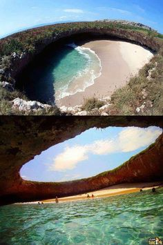 nature turns disaster site into a Hidden Beach in Mexico! Amazing!