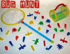 "Teach prepositions: in, up, out by collecting bugs  Bugs can also be sorted by color, type of bug & size  In therapy, I say ""the bug needs his family"".  Keep the language simple for less verbs kids ""where's mommy?"""