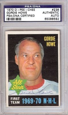 Gordie Howe Autographed 1970 O-Pee-Chee Card PSA/DNA Slabbed #65088592 . $199.00. This is a hand signed Gordie Howe 1970 O-Pee-Chee Card. This item has been authenticated and slabbed by PSA/DNA.