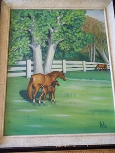 Vintage 1950's 60's Horse and Foal Fenced Pasture Oil Painting Signed Framed | eBay