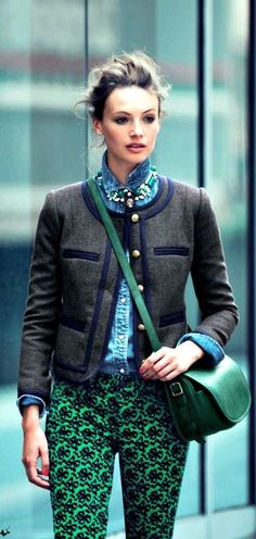 Street Style | Charcoal Tweed Jacket. Emerald Green Pattern Pants. Statement Necklace. | J. Crew  | | { Couture /// Runway Every Day 1