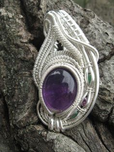 Amethyst Emeralds and Pink Sapphire Wire Wrapped Pendant in