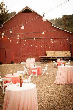 Red barn wedding photos , rote s Outdoor Wedding Venues, Indoor Wedding, Wedding Reception, Wedding Table, Reception Seating, Wedding Backyard, Garden Wedding, Wedding Bride, String Lights Outdoor