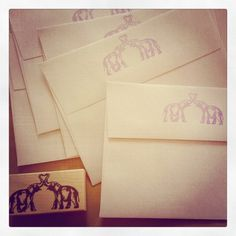 Hand stamped envelopes for our Bronx zoo wedding. Kimmay