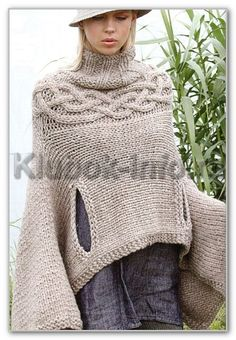 Poncho-pullover - lovely shape, free pattern and schematics in Russian Crochet Cape, Knitted Poncho, Knitted Shawls, Crochet Scarves, Knit Crochet, Knitting Wool, Free Knitting, Knitting Patterns, Moda Outfits