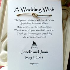 tie the knot favor - bracelet...could be used for any event by changing the color of the string and the text on the card...