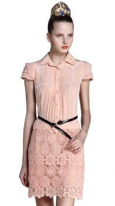 Embroidery Pleated Dress