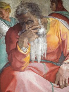 Michelangelo - The Prophet Jeremiah in the Sistine Chapel - The Vatican Rome Italy Renaissance Paintings, Renaissance Art, Italian Renaissance, Michelangelo Paintings, Vatican Rome, Biblical Art, Sistine Chapel, Classic Paintings, Caravaggio