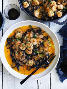Neil Perry& Good Weekend recipe: Squid-ink pasta with scallops, chilli, tomato & garlic. Black Bean Pasta, Black Pasta, Shrimp Recipes, Pasta Recipes, Cooking Recipes, Healthy Recipes, Squid Recipes, Dinner Recipes, Fish Dishes