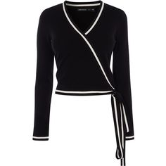 Karen Millen Wrap Knit Top (€140) ❤ liked on Polyvore featuring tops, shirts, blusas, tie shirt, wrap tie top, wrap shirt, faux wrap shirt and bow tie top