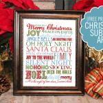 Christmas Subway Art {free printable}