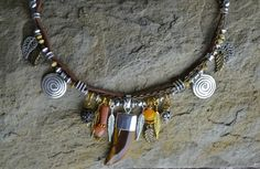 Tribal Inspired Gemstone Necklace Horn Tiger Eye Bib by LKArtChic