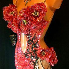 Red flowers Latin dress