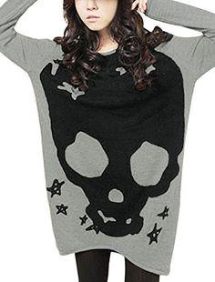 Allegra K Women Long Sleeve Skull T Shirts Loose Blouses Long Tunic Tops at Amazon Women's Clothing store: Tunic Shirts