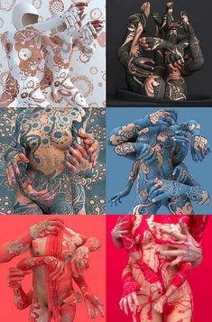 Korean artist Kim Joon creates digital prints using porcelain and tattoos as his digital mediums.  A master of computer software 3D Studio Max, Kim successfully juxtaposes old and new, traditional Asian motifs and new media, to fabricates compositions out of tableware, fragments of idealized nudes, and icons of Western pop culture.