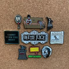 Inspired by the greatest film of all time, Beetlejuice. THIS SET INCLUDES ALL 10 OF OUR BEETLEJUICE PINS! Made with high quality metal, secured with black rubber posts.