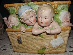 Rare Large Heubach German Bisque Piano Baby (Babies) in Wicker Basket