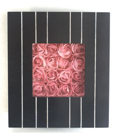 """Pink Roses in Black and White Striped Shadowbox, """"Up-cycled"""" Wooden. $20.00, via Etsy."""
