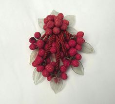 "Early Miriam Haskell 4 1/2""  RED SUGAR GLASS BERRIES DANGLY PIN BROOCH LEAVES #MiriamHaskell #EarlyHaskellDanglingPin #PinBrooch"