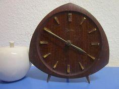 German Zentra teak mid-century modernist table clock mint & rare