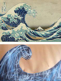 "Kids can make their own version of ""The Great Wave off Kanagawa"" a famous woodblock print by Japanese artist Katsushika Hokusai."