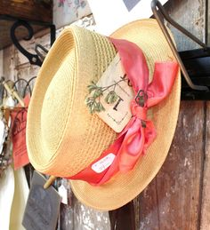 straw hat with cute goodies