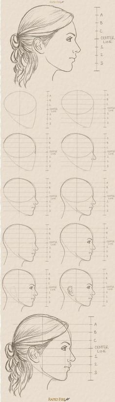 11 steps on how to draw a female face (side view) Zijaanzicht van gezicht<br> Learn how you can draw realistic female faces quickly. This tutorial takes you through a step by step process with detailed explanations and examples. Pencil Art Drawings, Art Drawings Sketches, Drawing Faces, Side Face Drawing, Face Proportions Drawing, Body Base Drawing, Side View Drawing, Female Face Drawing, Drawing Lessons