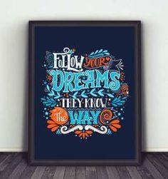 poster follow your dreams - 30x40 cm