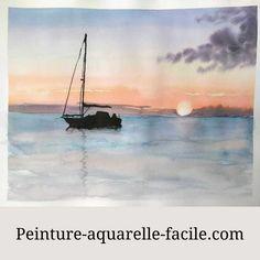 Un bateau sur la mer lors d'un coucher de soleil à la peinture aquarelle et à l'encre. Tutoriel aquarelle diponible dans le Pack tutos. Painting, Art, Easy Watercolor, Watercolor Painting, How To Paint, Water Colors, Ink, Sun, Art Background