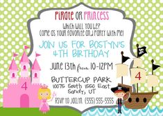 Pirate Princess Birthday Party Invitation