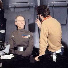 """Grand Moff Tarkin (Peter Cushing) takes direction from George Lucas on the set of """"Star Wars"""" Saga, Star Wars Jokes, Star Wars Episode Iv, War Film, Science Fiction Books, George Lucas, Star Wars Poster, A New Hope, Science Experiments Kids"""