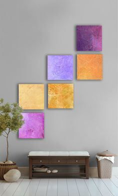 Abstract Painting, 6 square Modern Abstract Wall Art - Abstract art- Gold, yellow, Royal purple, eggplant, Lavender,    etsy artwork:   http://www.etsy.com/listing/96016313/sunshine-and-rain-abstract-painting-6