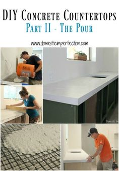 DIY Concrete Countertops, Part II – The Pour DIY white concrete countertops – detailed tutorial, a must read if you have ever thought about pouring your own countertops! White Concrete Countertops, Concrete Kitchen, Kitchen Countertops, Concrete Cement, Stained Concrete, Concrete Floors, Diy Concrete Vanity Top, Concrete Table Top, White Granite