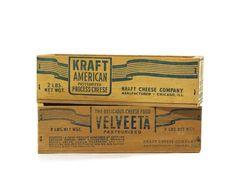 Vintage Cheese Box Pair, Kraft American & Velveeta. via Etsy.