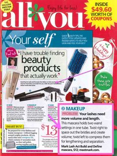 mark Lash Act Build and Define Mascara featured in the December issue of All You Magazine. Purchase at www.youravon.com/suzannemmendoza