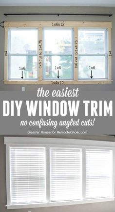 DIY Easy Craftsman Window Trim DIY tutorial for installing the easiest DIY window trim. This craftsman style trim requires NO confusing angled cuts, so it's easy for anyone to do, even a beginner Estilo Craftsman, Craftsman Style, Easy Home Decor, Cheap Home Decor, Home Improvement Projects, Home Projects, Home Improvements, Style Artisanal, Craftsman Window Trim