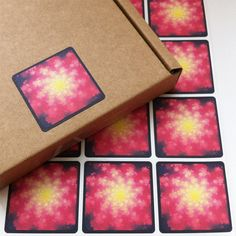 Firework Fractal Stickers Square Packaging by DayzeeLoveDesigns, £4.50