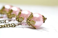 Pink Wedding Jewelry for Bridesmaids Gifts, Soft Pink Pearl Necklace Vintage Inspired Bridal Jewelry. $18.00, via Etsy.