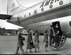 Boeing 377-10-29 Stratocruiser - The first Stratocruiser for AOA, N90941 was delivered to the airline on 13 June 1949. AOA merged into Pan Am on 25 September 1950. This aircraft was damaged beyond repair in a belly landing at Tokyo on 9 July 1959. This publicity photo of pax boarding into the lower deck was obtained from AOA over 60 years ago.